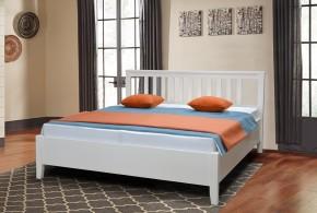 Dřevěná postel Ferata 160x200, bílá, vč. roštu a úp, bez matrace