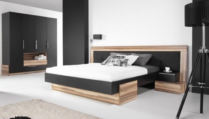 Dřevěná Postel Morena 160x200, ořech, černá, vč. roštu, bez matrace a úp