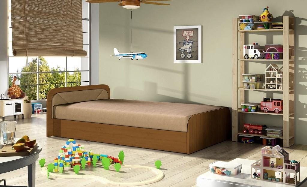 Dřevěná Postel Oliver 80x190 levý roh, béžová, vč. matrace a ÚP
