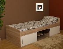 Dřevěná postel Sáva II 90x200 cm, dub, bílá, s úložným prostorem