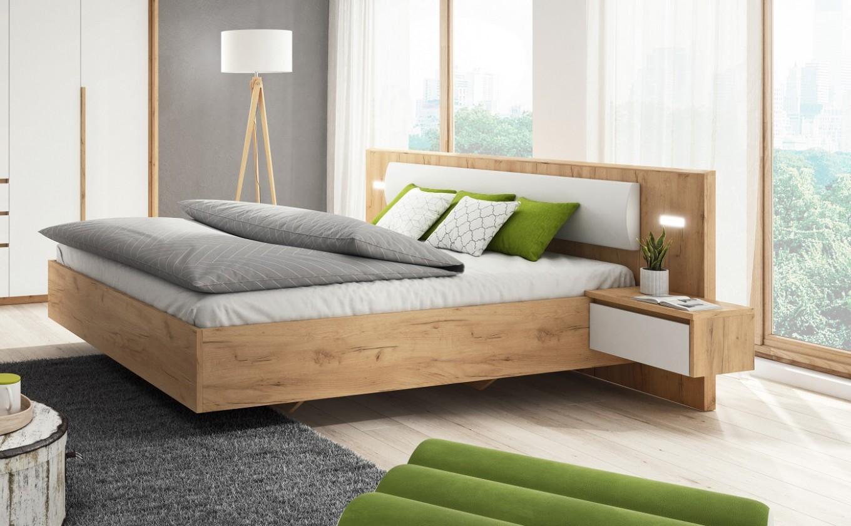 Dřevěná Postel Xelo 160x200 - 2x noční stolek (dub zlatý/bílá)