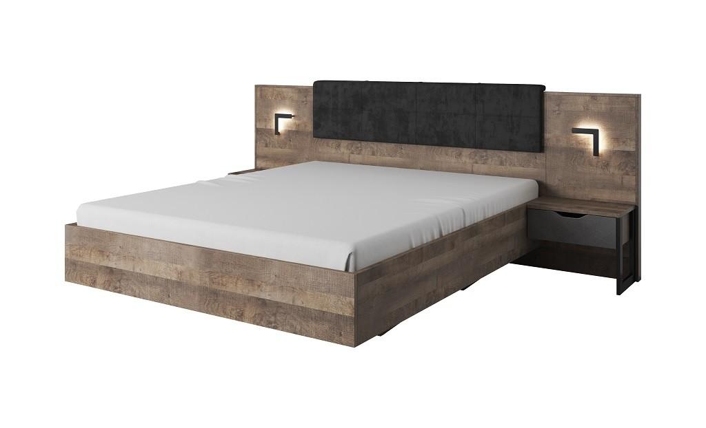 Dřevěná Rám postele Laura 160x200 cm (dub grande pískový/matera)