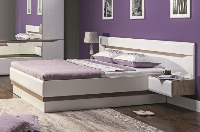 Dřevěná Rám postele Leone 140x200, dub, bílá