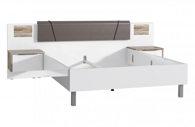 Dřevěná Rám postele Selly 160x200, sosna/bílá, 2x noční stolek