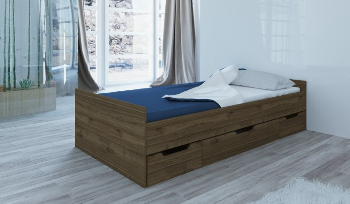 Dřevěná Rám postele Suen 90x200, ořech admiral, ÚP, bez roštu a matrace