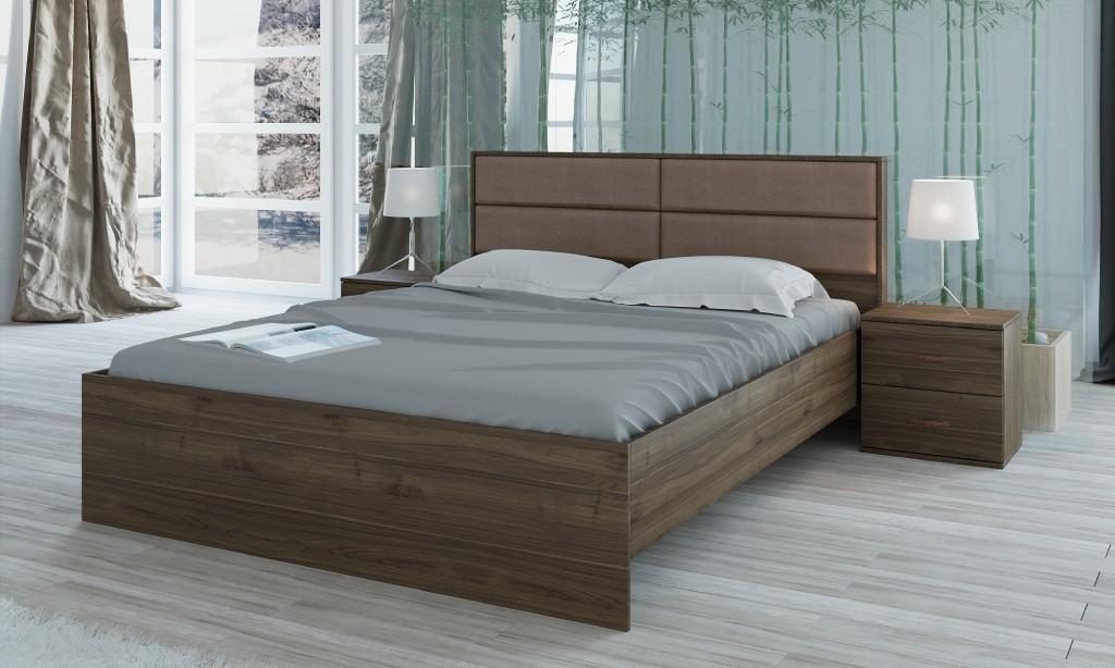 Dřevěná Rám postele Talke 160x200, 2 noční stolky,bez roštu,matrace a ÚP