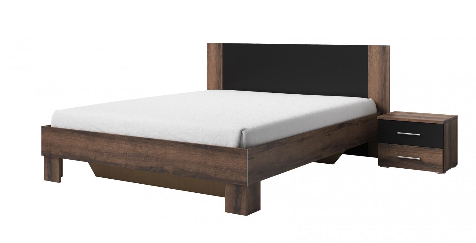 Dřevěná Rám postele Vera 180x200, 2 noční stolky, dub