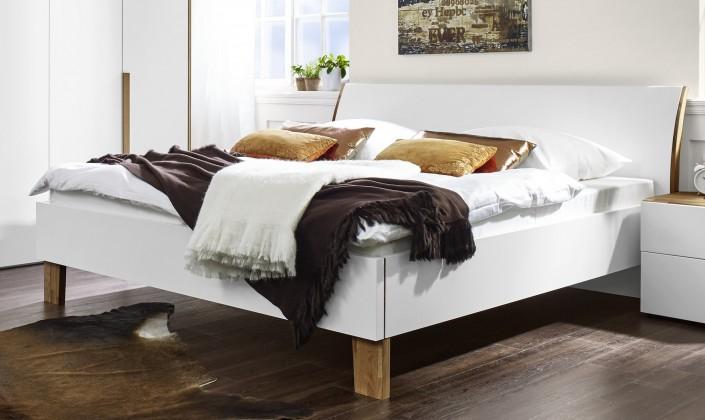 Dřevěná Shape - 200x160 (bílý lak ultramat, dřevěné nohy)