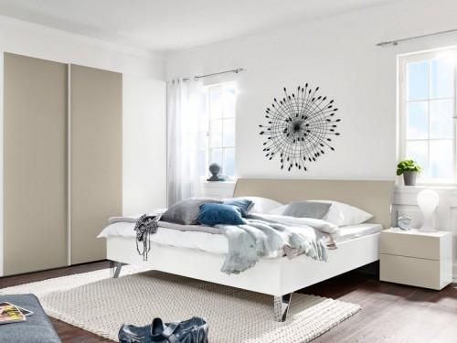 Dřevěná Shape - 200x180 (bílý, pískově šedý lak ultramat, chrom lesklý)
