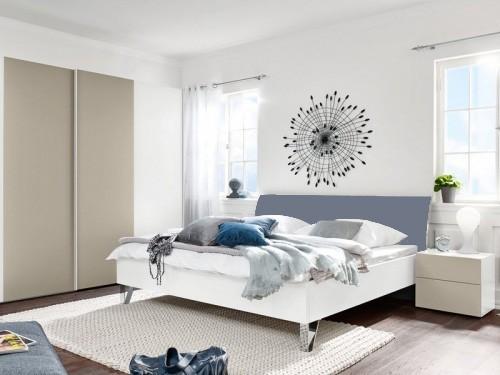 Dřevěná Shape 200x180 (bílý, šedomodrý lak ultramat, nohy chrom lesklý)