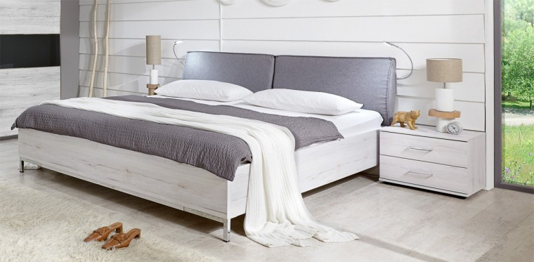 Dřevěná Sylt - Komplet, postel 160 cm (dub bílý, šedá)