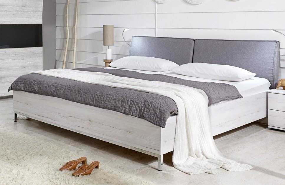 Dřevěná Sylt - Postel 180 cm (dub bílý, šedá)