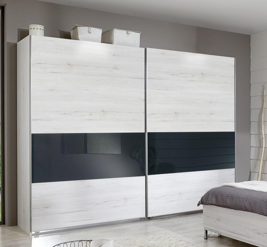 Dřevěná Sylt - Šatní skříň, 2x posuvné dveře (dub bílý, šedá)