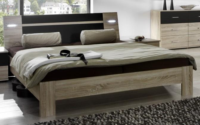 Dřevěná Vicenza - Postel 160x200 cm (dub/lava černá)