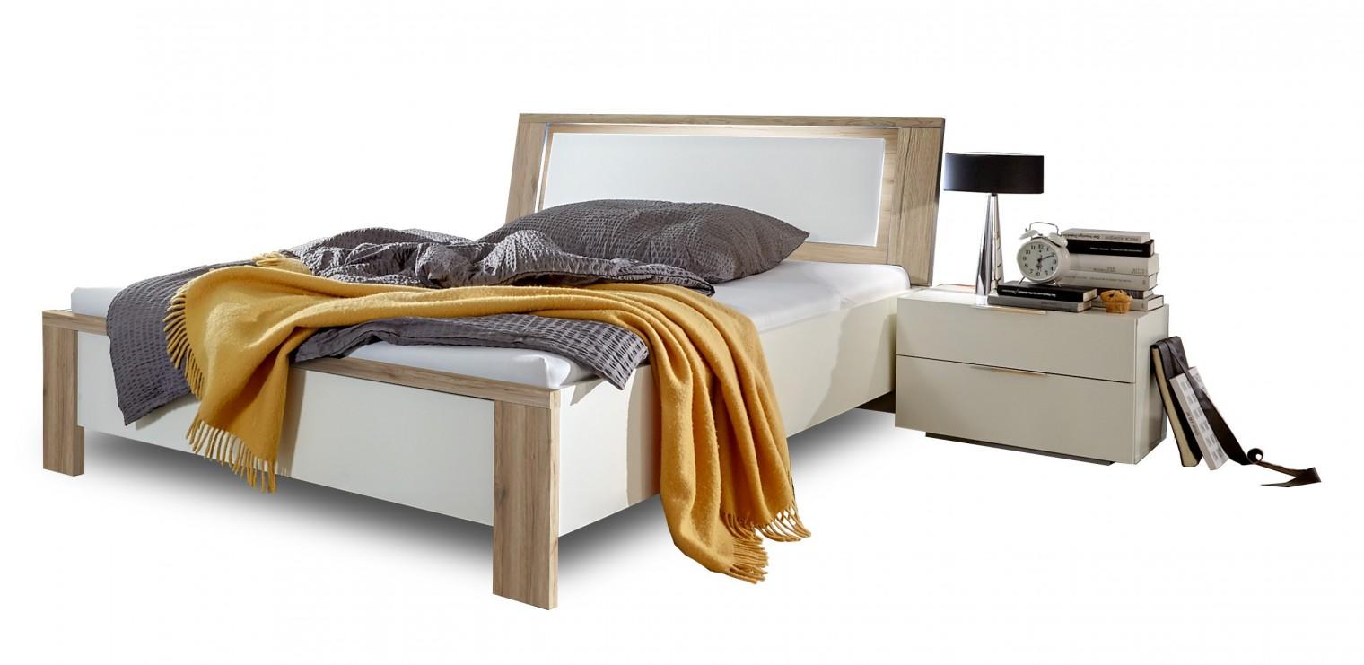 Dřevěná Viva - komplet, postel 140cm (dub san remo, alpská bílá)