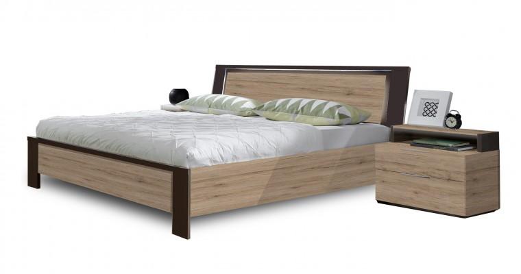 Dřevěná Viva - komplet, postel 140cm (dub san remo, lava černá)