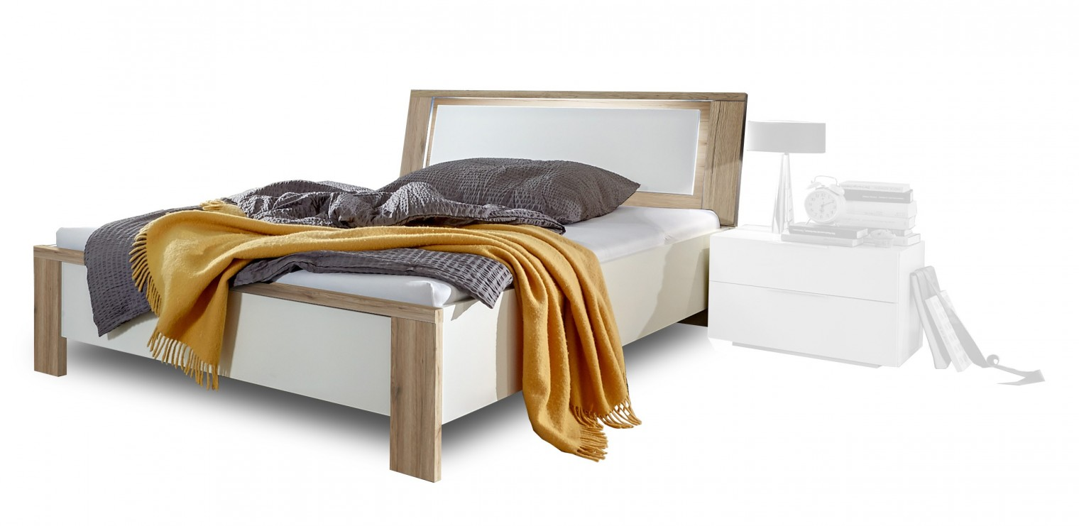 Dřevěná Viva - Postel 180x200 (dub san remo struktura, alpská bílá)