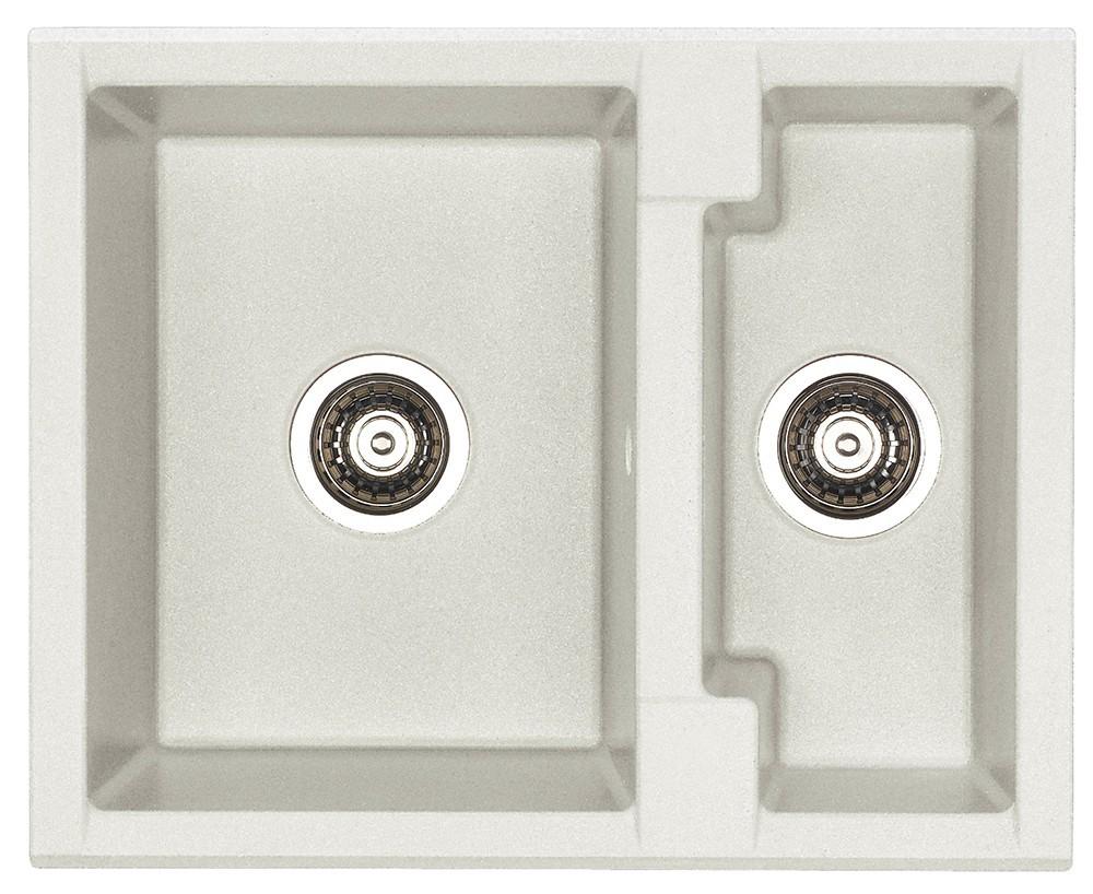 Dřez rovný Cubo 20 - Dřez, včetně sifonu, 1 a půl vaničky (granit, bílá)