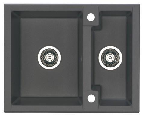 Dřez rovný Cubo 20 - Dřez, včetně sifonu, 1 a půl vaničky (granit, černá)