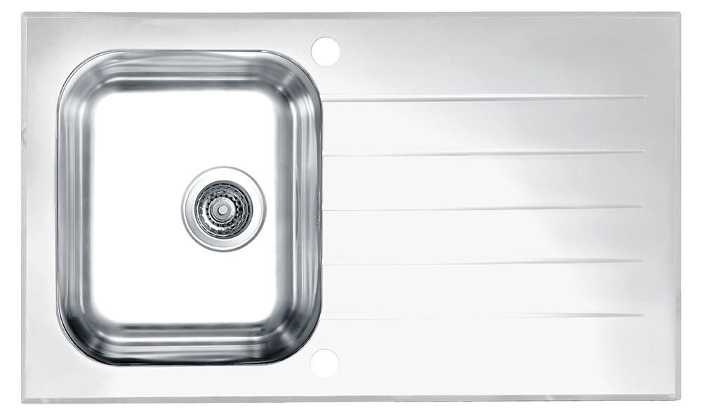 Dřez rovný Glassix 10 - Dřez, včetně sifonu, bílá (nerez - tvrzené sklo)