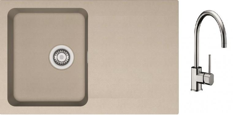 Dřezový set SET13 - Dřez tectonite + baterie (kávová, stříbrná)
