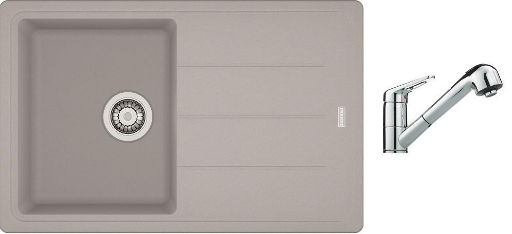 Dřezový set SET6 - Dřez granit + baterie (stříbrná, stříbrná)