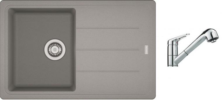 Dřezový set SET7 - Dřez granit + baterie (šedý kámen, stříbrná)