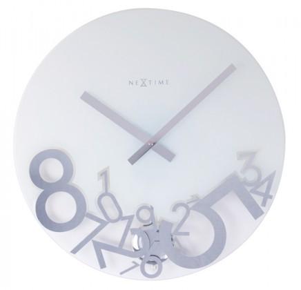 Dropped - hodiny, nástěnné kyvadlové, kulaté (sklo, bílé)