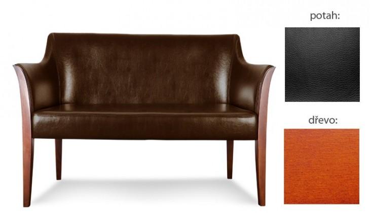 Dvojsedák Bari - 2-sedák (extra leather black / dřevo č. 3)
