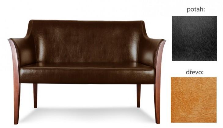 Dvojsedák Bari - 2-sedák (extra leather black / dřevo č. 4)