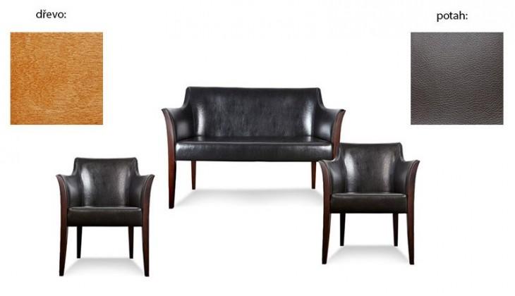 Dvojsedák Bari - 2sedák, 2x křeslo (extra leather brown / dřevo č. 4)