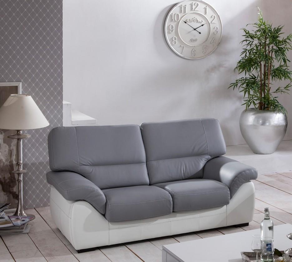 Dvojsedák Cortina-dvojsedák (light grey-látka/white madras leather-korpus)