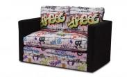 Dvojsedák Dream rozkládací (microfiber black/graffiti)