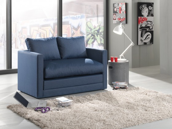 Dvojsedák Dvojsedák Dream rozkládací (jeans blue, modrá, látka)