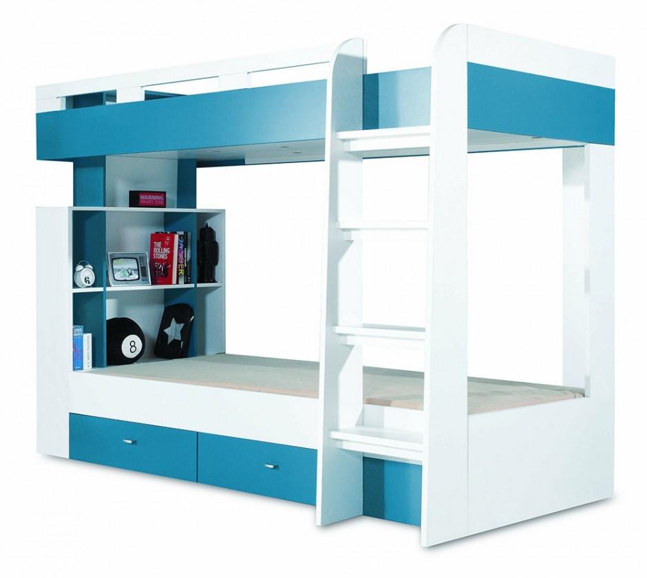 Dvoupatrová postel Mobi - Postel dvoupatrová (bílá lesk/tyrkysová)