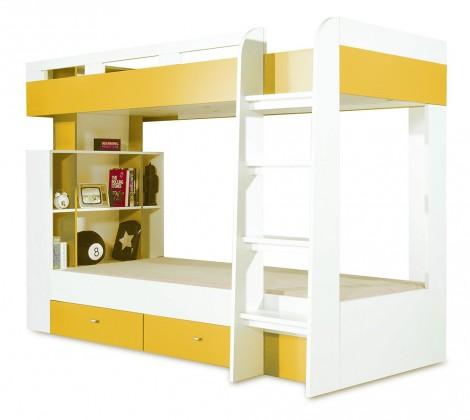 Dvoupatrová postel Mobi - Postel dvoupatrová (bílá lesk/žlutá)