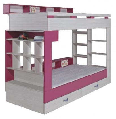 Dvoupatrová postel Patrová postel Komi KM 14 (růžová)