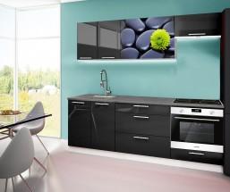 Emilia 2 - kuchyňský blok A 220 cm (černá, pracovní deska - titan)