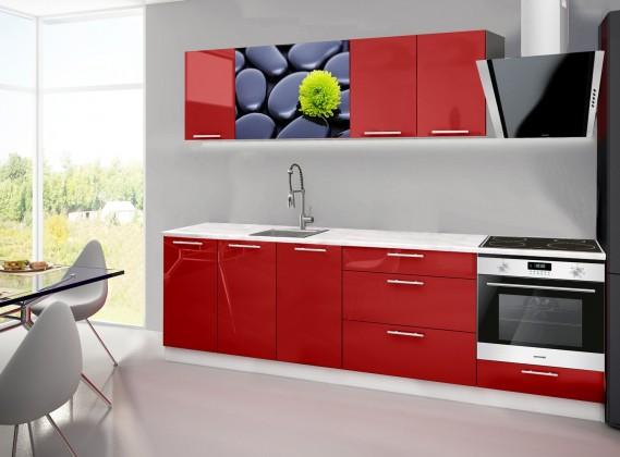 Emilia 2 - Kuchyňský blok A, 260cm (červená, mramor, kameny)