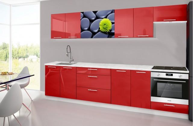Emilia 2 - Kuchyňský blok H, 300cm (červená, mramor, kameny)
