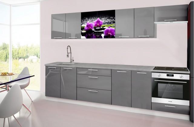 Emilia 2 - Kuchyňský blok H, 300cm (šedá, titan, orchidej)
