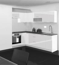 Emilia - Kuchyně rohová, 150/250 cm P (bílá, PD černá)