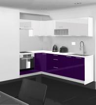 Emilia - Kuchyně rohová, 150/250 cm P (bílo-fialová, PD bílá)