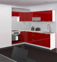 Emilia - Kuchyně rohová, 150/250 P (červená, travertin světlý)