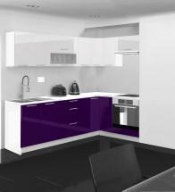 Emilia - Kuchyně rohová, 250/150 cm L (bílo-fialová, PD bílá)