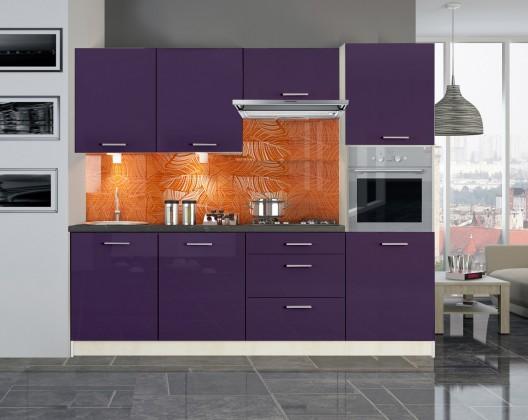 Emilia - Kuchyňský blok 240 cm (fialová lesk)