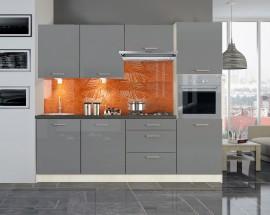 Emilia - Kuchyňský blok 240 cm (šedá lesk)