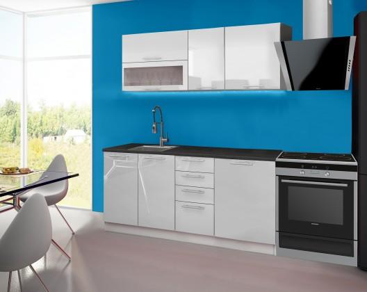 Emilia - Kuchyňský blok A, 180 cm (bílá, PD černá)