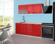 Emilia - Kuchyňský blok A, 180 cm (červená, PD travertin světlý)