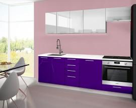 Emilia - Kuchyňský blok A, 240 cm (bílo-fialová, PD bílá)